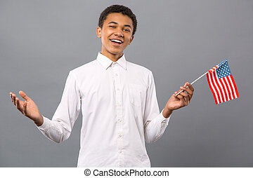bandeira e. u., segurando, agradável, alegre, homem