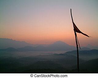 bandeira, em, amanhecer