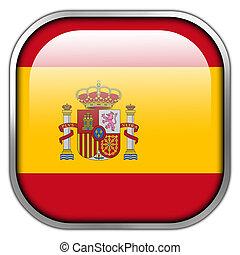 bandeira espanha, quadrado, lustroso, botão