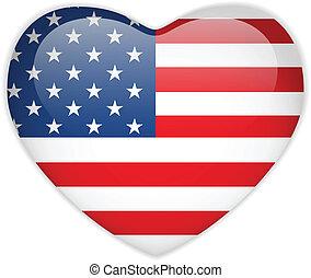 bandeira estados unida, coração, lustroso, botão