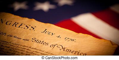 bandeira estados unida, fundo, declaração, independência