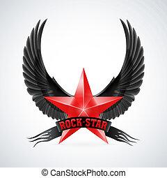 bandeira, estrela, asas, pedra vermelha