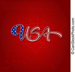 bandeira eua, caligraphic, lettering, sobre, mapa, -, vermelho