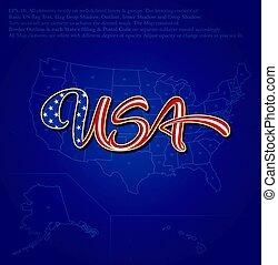 bandeira eua, caligraphic, texto, sobre, mapa, -, azul