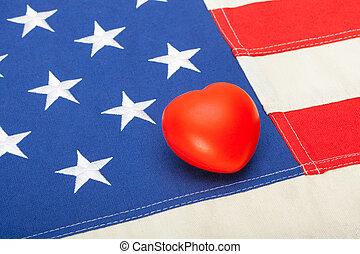 bandeira eua, com, coração, sobre, aquilo, -, tiro estúdio