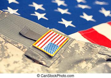 bandeira eua, com, exército, uniforme, -, cima, tiro estúdio