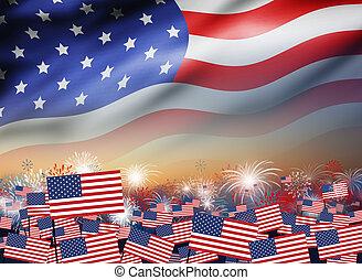 bandeira eua, com, fogo artifício, em, crepúsculo, fundo, desenho, para, 4, julho, dia independência, ou, outro, celebração
