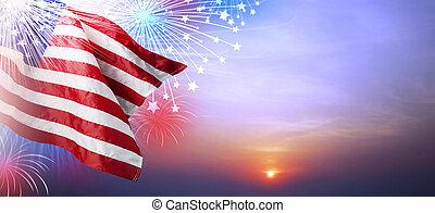 bandeira eua, com, fogo artifício, em, pôr do sol, fundo