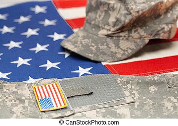 bandeira eua, com, militar eua, uniforme, sobre, aquilo, -,...