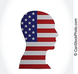 bandeira, eua, desenho, cabeça, ilustração