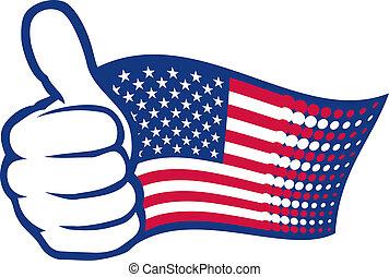 bandeira eua, e, mão, mostrando, polegares cima