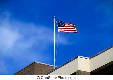 bandeira eua, e, predios