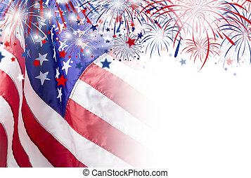 bandeira eua, fogo artifício, 4, fundo, julho, dia,...