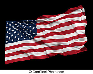 bandeira, eua, pretas, sobre, fundo