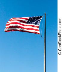 bandeira eua, waving, em, vento