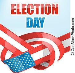 bandeira, fita, eleição, eua, dia