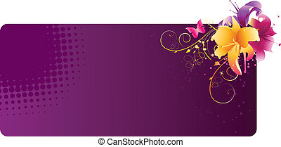 bandeira, flores, lírio, violeta