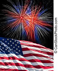 bandeira, fogos artifício, americano