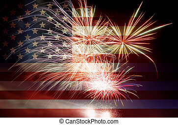 bandeira, fogos artifício, eua