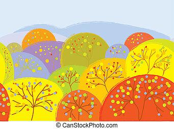 bandeira, folhas, seamless, árvores, outono