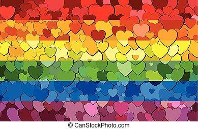 bandeira, fundo, orgulho alegre, feito, corações