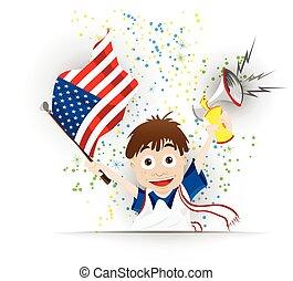bandeira, futebol, ventilador, caricatura, eua