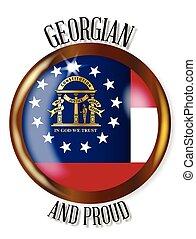 bandeira, geórgia, botão, orgulhoso