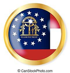bandeira, geórgia, botão