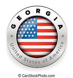 bandeira, geórgia, emblema, botão, eua