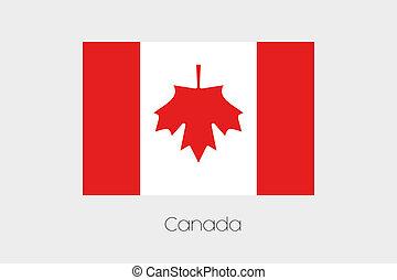 bandeira, girado, grau, canadá, 180