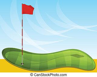 bandeira, golfe, fundo