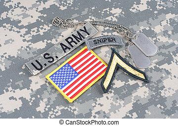 bandeira, grau, nós, privado, cão, uniforme, remendo, camuflagem, aba, exército, franco-atirador, tag