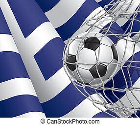 bandeira grega, bola, futebol