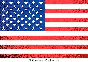 bandeira, grunge, americano, ilustração, usa.
