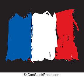 bandeira, grunge, frança