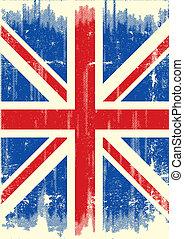 bandeira, grunge, reino unido