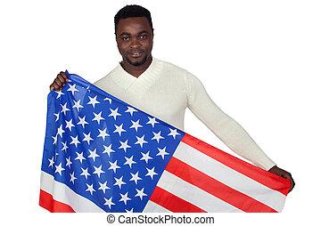 bandeira, homem americano africano, atraente