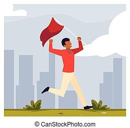 bandeira, homem, jovem, vermelho, segurando