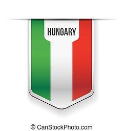 bandeira hungria, vetorial, fita