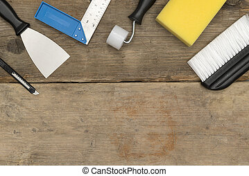 bandeira, imagem, de, melhora lar, ferramentas, ligado, madeira, espaço cópia