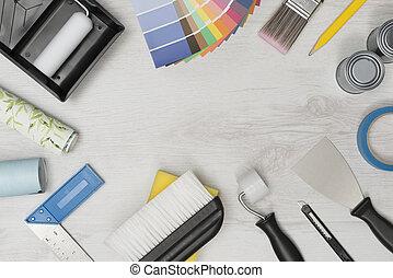bandeira, imagem, de, melhora lar, ferramentas pintura, com, espaço cópia