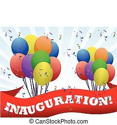 bandeira, inauguração, balões