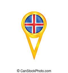bandeira islândia, alfinete