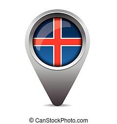 bandeira islândia, vetorial, ponteiro
