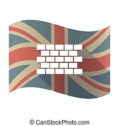 bandeira, isolado, parede, reino unido, tijolo