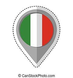 bandeira, itália, localização, alfinete, ícone