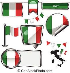 bandeira, itália, lustroso, ícones