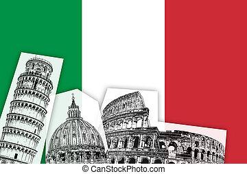 bandeira, itália, monumentos