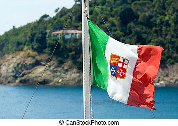 bandeira, itália, náutico