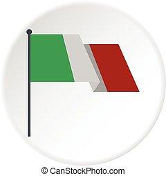 bandeira, italiano, círculo, ícone